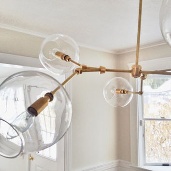 Handblown Glass Globe Bubble Light, Chandelier, Pendant