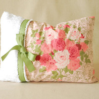 "Vintage Shabby Chic Pillow Cover Chenille With Ribbon 12""x16"""