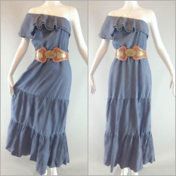 ViNtAgE 80's Chambray Peasant Maxi Dress 90s Boho Country Western Denim Blue Ruffled Cowgirl Southwestern hippie Prairie One Shoulder Gown