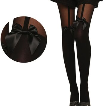 ChamsGend 2018 Vintage Tights Bow Pantyhose Tattoo Mock Bow Suspender Sheer Stockings Dropship
