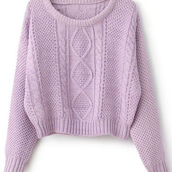 ROMWE | Cable Knit Purple Short Jumper, The Latest Street Fashion