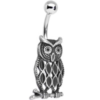 Perched Thoughtful Owl Belly Ring | Body Candy Body Jewelry