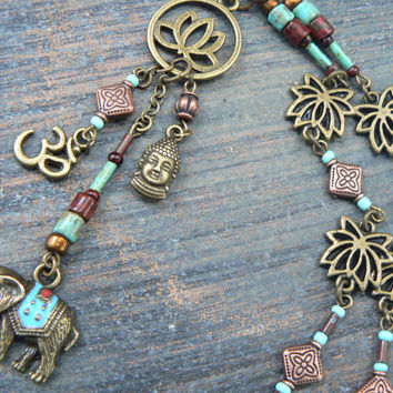 spiritual  ganesha necklace, zen necklace, yoga necklace,elephant necklace