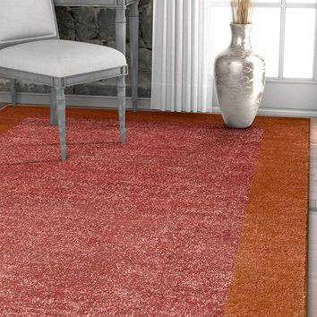 7035 Terracotta Solid Color Contemporary Area Rugs