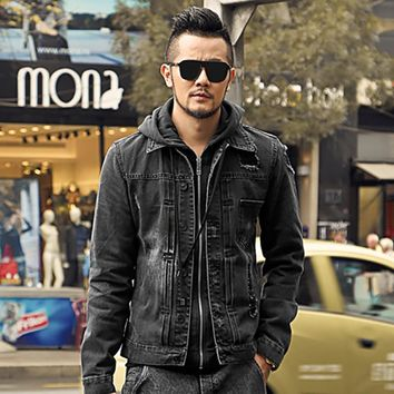 men jean jacket men denim jackets for men stand collar 100% cotton outerwear jean jacket men