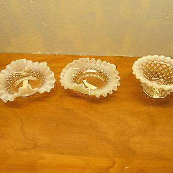 VINTAGE FENTON WHITE OPALESCENT HOBNAIL RUFFLED DISH WITH TWO SMALLER DISHES