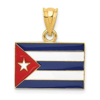14k Yellow Gold Enameled Cuba Flag Pendant