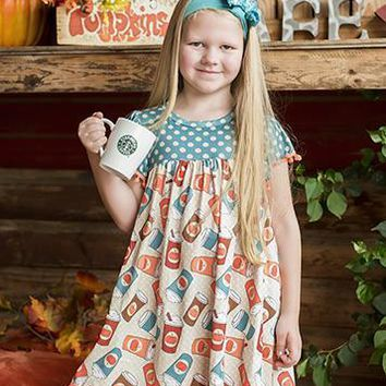 2018 Spring Mommy & Me Kids Pumpkin Spice Lattes & Polka Dots Dots Pom Pom Dress