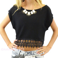 Coral Gables Black Lace Trim Crop Top
