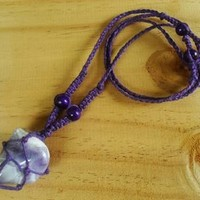 Amethyst Hemp Knotted Macrame Boho Necklace