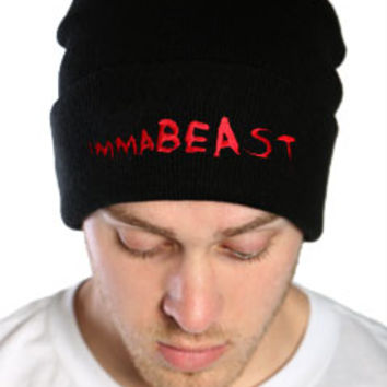 Black and Red immaBEAST Streetwear Beanie Cap at Threader® Streetwear, Hip Hop Clothing, and Urban Clothing