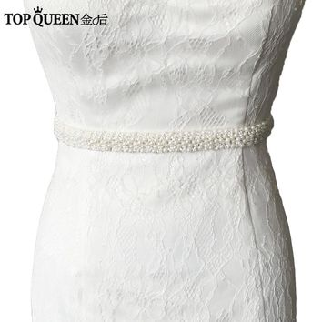 TOPQUEEN S204 pearls Beaded Evening Party Gown Dresses Accessories Wedding Belts Sashes,Bride Waistband Bridal Sashes Belts