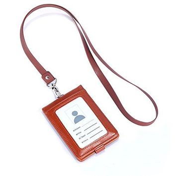 ID Case With Lanyard Blue Leather Card Case Holder