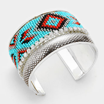 "7.50"" silver aztec boho bead  bracelet bangle cuff 1.75"" wide"