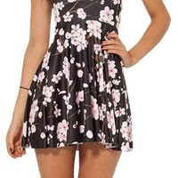 Pulcher Summer Pleated Knee-length Cherry Blossom Black Reversible Skater Dress