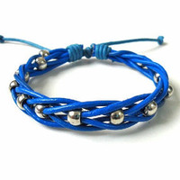 Jewelry bangle leather bracelet woven bracelet girls bracelet  women bracelet made of blue leather and Silver beads cuff bracelet  SH-1437