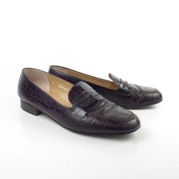Ralph Lauren Shoes Vintage Polo Penny Loafers 1980s Faux Alligator Women's size 8