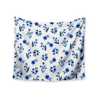 "Strawberringo ""Floral Pattern"" Blue Floral Wall Tapestry"