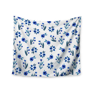 """Strawberringo """"Floral Pattern"""" Blue Floral Wall Tapestry"""