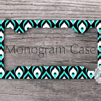 Retro License tag frame - Aqua green Peacock pattern, customized car frame