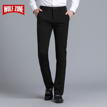 Business Trousers Men Casual Slim Fit Dress Spring And Summer Full Length Straight