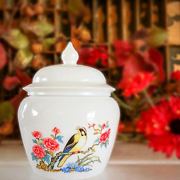 Avon Milk Glass Jar, Vintage Avon, Avon Bird Jar, Avon Ginger Jar, Avon Collectible, Avon Bird Pattern, Avon Flour Jar, Milk Glass Jar, Avon