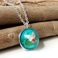 Fish Necklace, Whimsical Jewelry, White Fish Swimming in Blue Resin Water Pendant, Resin Jewelry, Fish Jewelry, Diorama Jewelry (293)