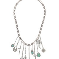Chain Necklace With Charm Fringe - Blue