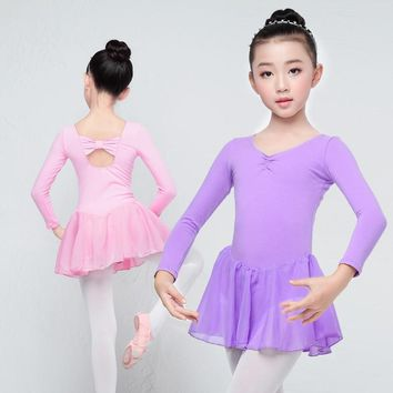Children Long Sleeve Ballet Leotard Girls Kids Cotton Dance Training Dress Chiffon Skirted Leotard