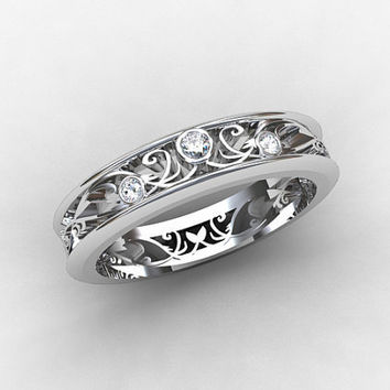 Thin Filigree ring, White Gold, wedding band, Diamond ring, Unique, Lace, Diamond wedding, Filigree, Diamond, Thin, Fine, Vintage style