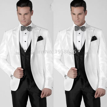2016 Men Wedding Tuxedos Peaked Lapel Wedding Suits For Men White Men Suits Three Piece Suit (Jacket+Pants+vest+Tie)