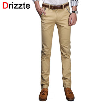 Men Stretch Cotton Jeans Soft Pants Casual Dress Trousers Khaki Beige