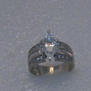 Vintage 14kt Marquise CZ Engagement Ring, multi-stones, size 7, 2TCW+