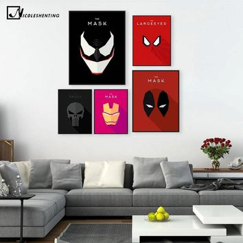 Deadpool Dead pool Taco Superhero Comic Venom Iron Man  Minimalist Art Canvas Poster Painting Cartoon Wall Picture Children Room Decoration 335 AT_70_6