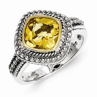 Sterling Silver Gold Citrine Ring