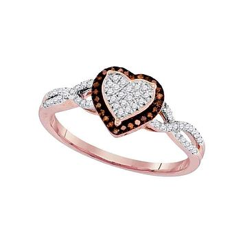 10k Rose Gold Women's Red Diamond Heart Twist Cluster Ring - FREE Shipping (US/CA)