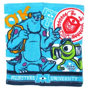 Monsters University Inc Mike and Sullivan Print Square Face Towel Handkerchief in Blue