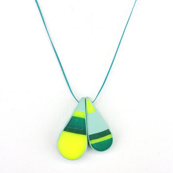 Colorful tear drop pendant, polymer clay mosaic jewelry, cord necklace