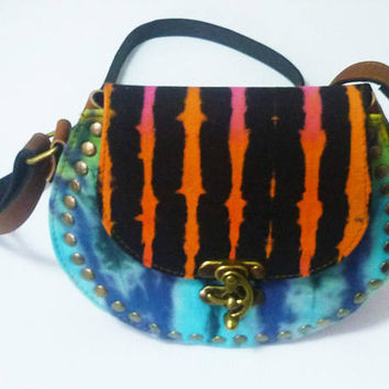 Half round shoulder bag Tie dye bag Orange black green Handmade bag fake leather bag /round handbags wide 20 cm. Cross body bag