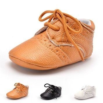 0-12M Baby Kids PU Leather Lace-up Shoes Newborn Boys Girl Anti-Slip Sneakers US