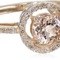 10k Rose Gold Round Morganite and Diamond Halo Ring, Size 6 (1/10cttw, I-J Color, I2-I3 Clarity)