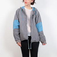 Vintage 80s Bomber Jacket Faded Gray Blue Striped Hooded Jacket Surfer Jacket 1980s New Wave Skater Hoodie Jacket Windbreaker Extra Large XL