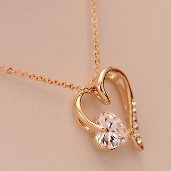 [grxjy5100147]Golden peach heart necklace