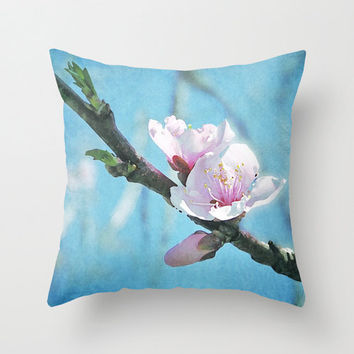Spring cherry blossom pillow, home decor cushion, flower photo pillow, pink, sky blue art, soft furnishings, bedroom decor, living room