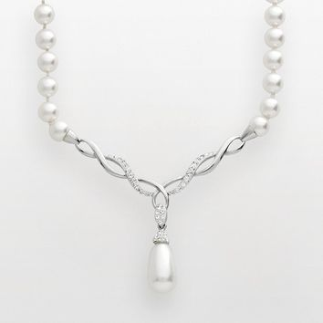 Artistique Sterling Silver Crystal Y Necklace - Made with Swarovski Elements (White)