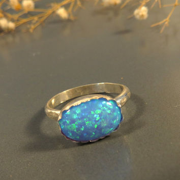 Blue Opal ring, Opal engagement ring, Cocktail ring, Gemstone ring, Statement ring, Gemstone ring, Opal Jewelry