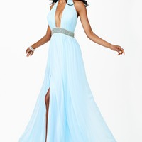 Jovani JVN27594 Evening Dress Chiffon Halter Neckline Belted Slit Skirt