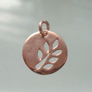 Rose Gold Vermeil over 925 Sterling Silver Cut Out Leaf Branch Round Pendant, 12mm - PC-0069