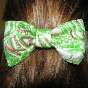 Kappa Delta Lilly Pulitzer Fabric Bow  MEDIUM by ASETX on Etsy