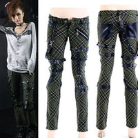 Punk Visual Kei Black STUB SLIM Zip Up K124 Green CHECKER PANTS S-2XL ア